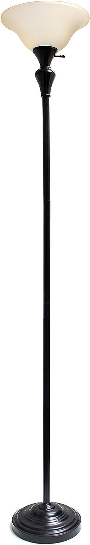 Elegant Designs LF2008-RBZ 1 Light Torchiere Floor Lamp w Frosted Plastic Shade, Restoration Bronze