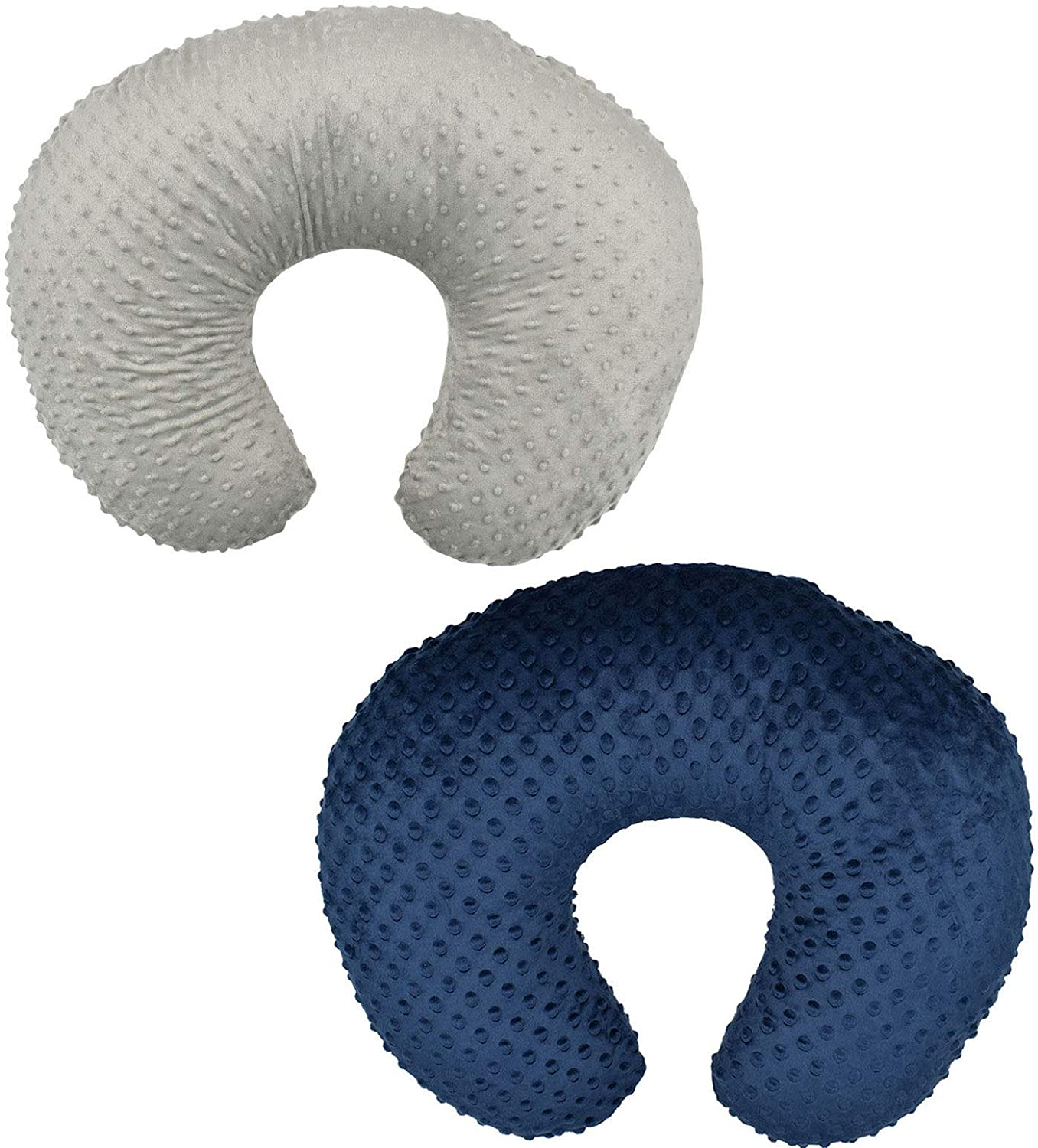2 Pack Nursing Pillow Cover Slipcover for Breastfeeding Pillows, Soft and Comfortable Safely Fits On Standard Infant Nursing Pillows (Grey & Blue)