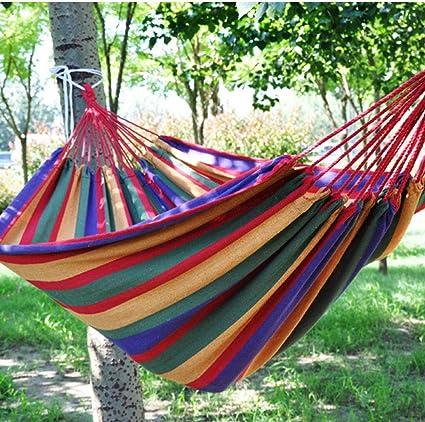 KIKOOY Hamacas Colgantes Algodón,|Transpirable,2 Cuerdas de Nylon Hamacas Jardín Hamaca en Rincón de Salón Doble Rojo: 1.9x1.5m: Amazon.es: Deportes y aire libre