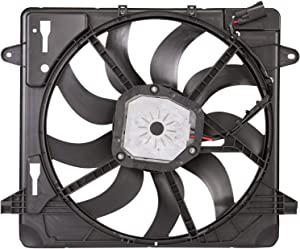 2012-2017 Jeep Wrangler Radiator And Condenser Fan Assembly With One Big Fan; 3.6 Liter V6 Plastic Partslink CH3115188