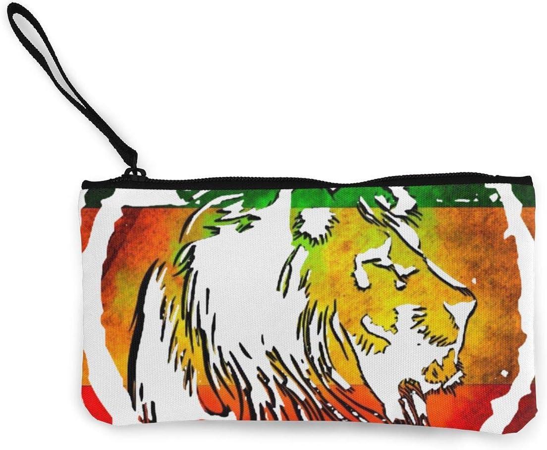 Portefeuille Unisexe Cute Canvas Wristlets Rasta Lion Coin Purses Wallet Cash Bag Make Up Bag Zipper Pouch Wallet for Women Girls