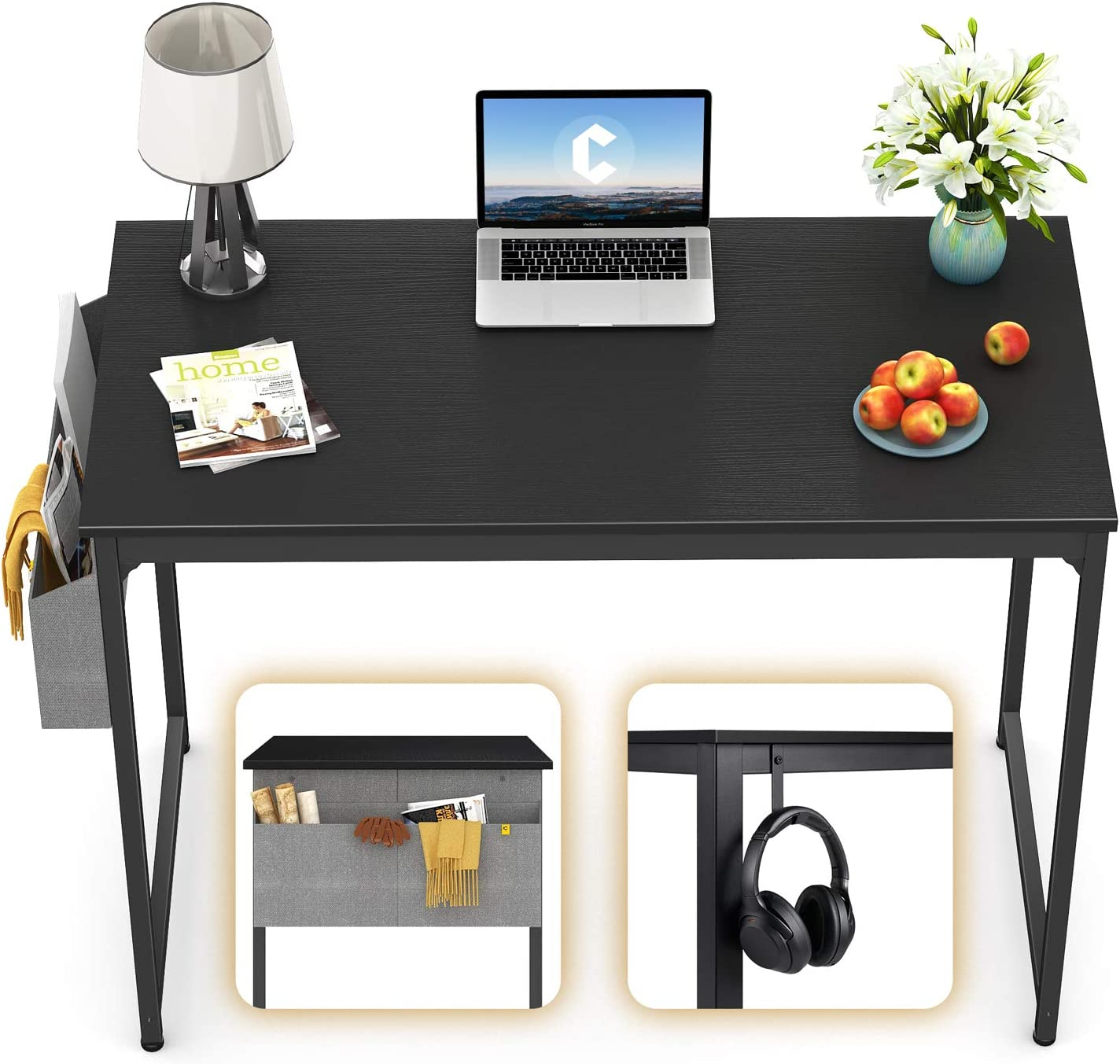 "CubiCubi Computer Desk 40"" Study Writing Table for Home Office, Modern Simple Style PC Desk, Black Metal Frame, Black"