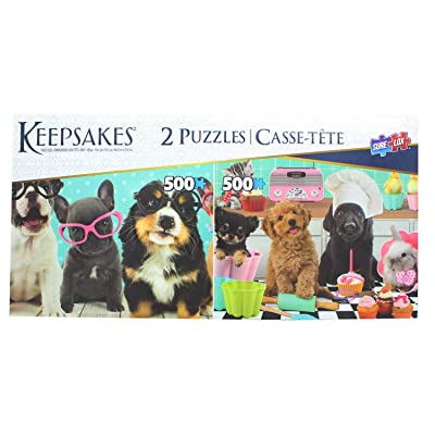 The Canadian Group Set of 2 Keepsakes 500 Piece Jigsaw Puzzles | Dogs Having Fun: Toys & Games