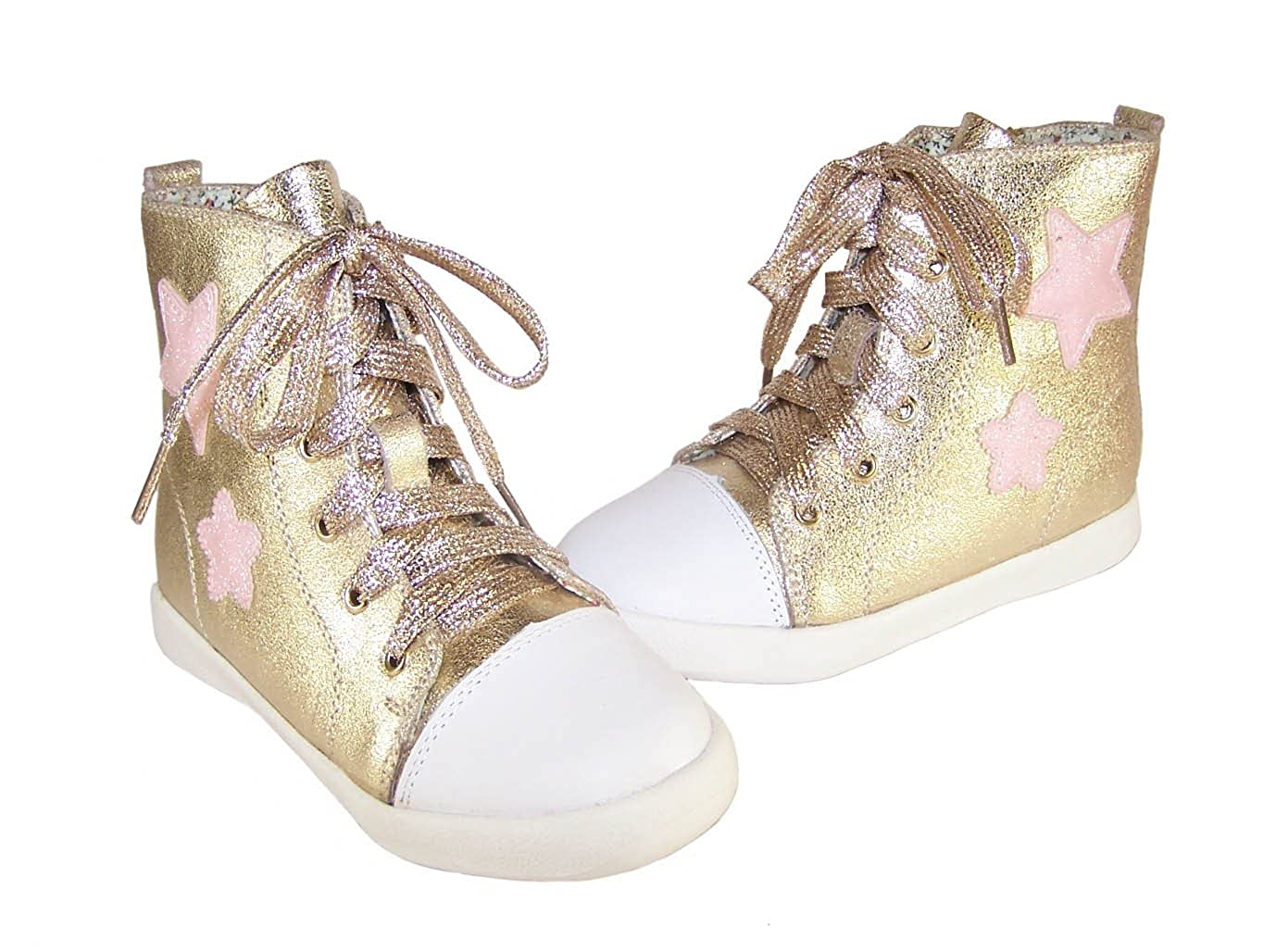 Velvet Bee girls gold leather hi-top trainers  Amazon.co.uk  Shoes   Bags e3b1c5d420