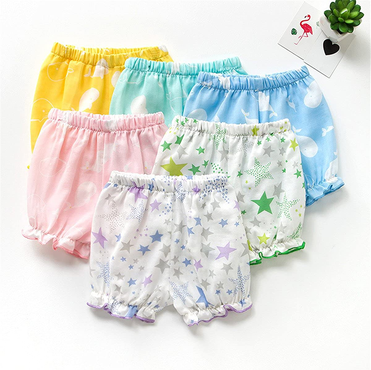 JELEUON 2Pcs of Little Baby Girls Sweety Flamingos Fruit Ruffle Lantern Pants Bloomer Shorts