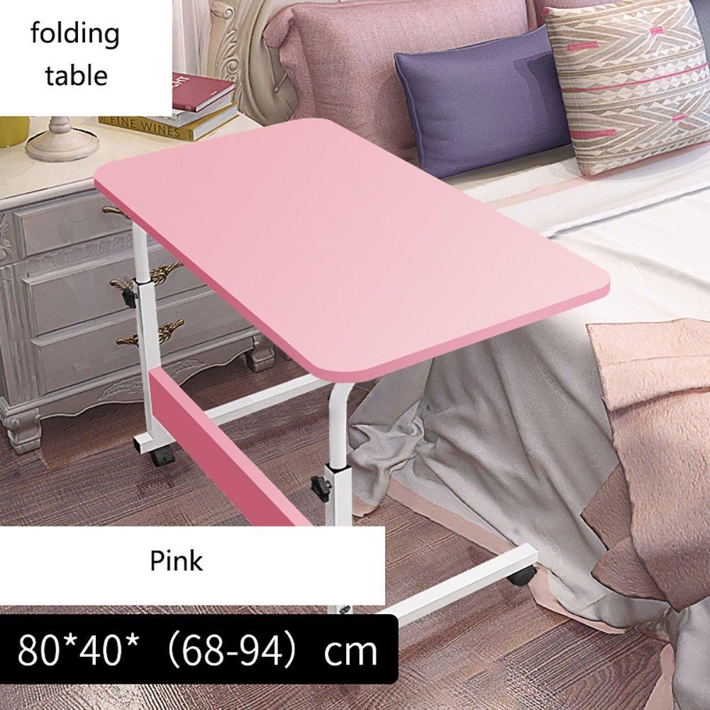 JU FU Pieghevole da Tavolo Pieghevole in Legno da Tavolo con Gambe Regolabili in Legno   (colore   rosa, Dimensioni   80  40cm)
