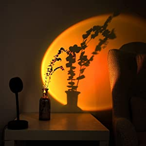 UME Sunset Projector Lamp,Projection 360° Rotation Led Modern Lamp Night Light for Selfie/Party/Home/Floor/Living Room/Bedroom Decor/Romantic Atmosphere/Children's Gift/Adults,USB Charging(Sunset Red)