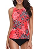 Holipick Women Tankini Swimsuit High Neck Halter Tummy Control Two Piece Bathing Suit
