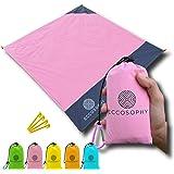 ECCOSOPHY Sand Proof Beach Blanket - 100% Waterproof Picnic Blanket 60x55 - Outdoor Compact Pocket Blanket - Lightweight…