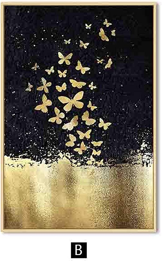 ABSTRACT GOLD BUTTERFLY WALL ART CANVAS PRINT PICTURE POSTER READY TO HANG