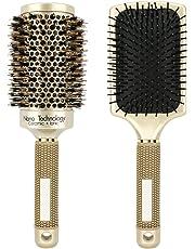 Luxspire Kit de Antiestático Cepillo de Pelo, Peine Iónico de Cerámica Ayuda Desenredando el Cuero