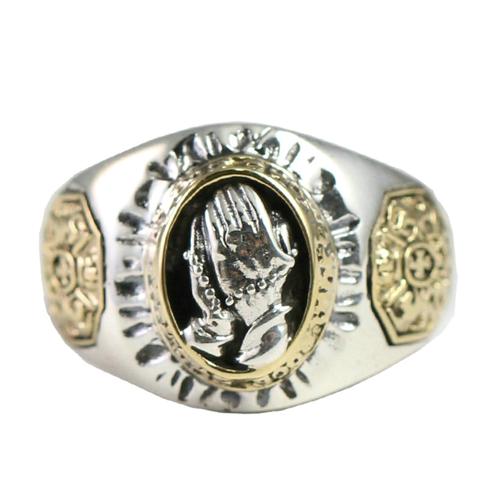 Adisaer Biker Rings Silver Ring for Men Prayer Hands Ring Size 5 Vintage Punk Jewelry