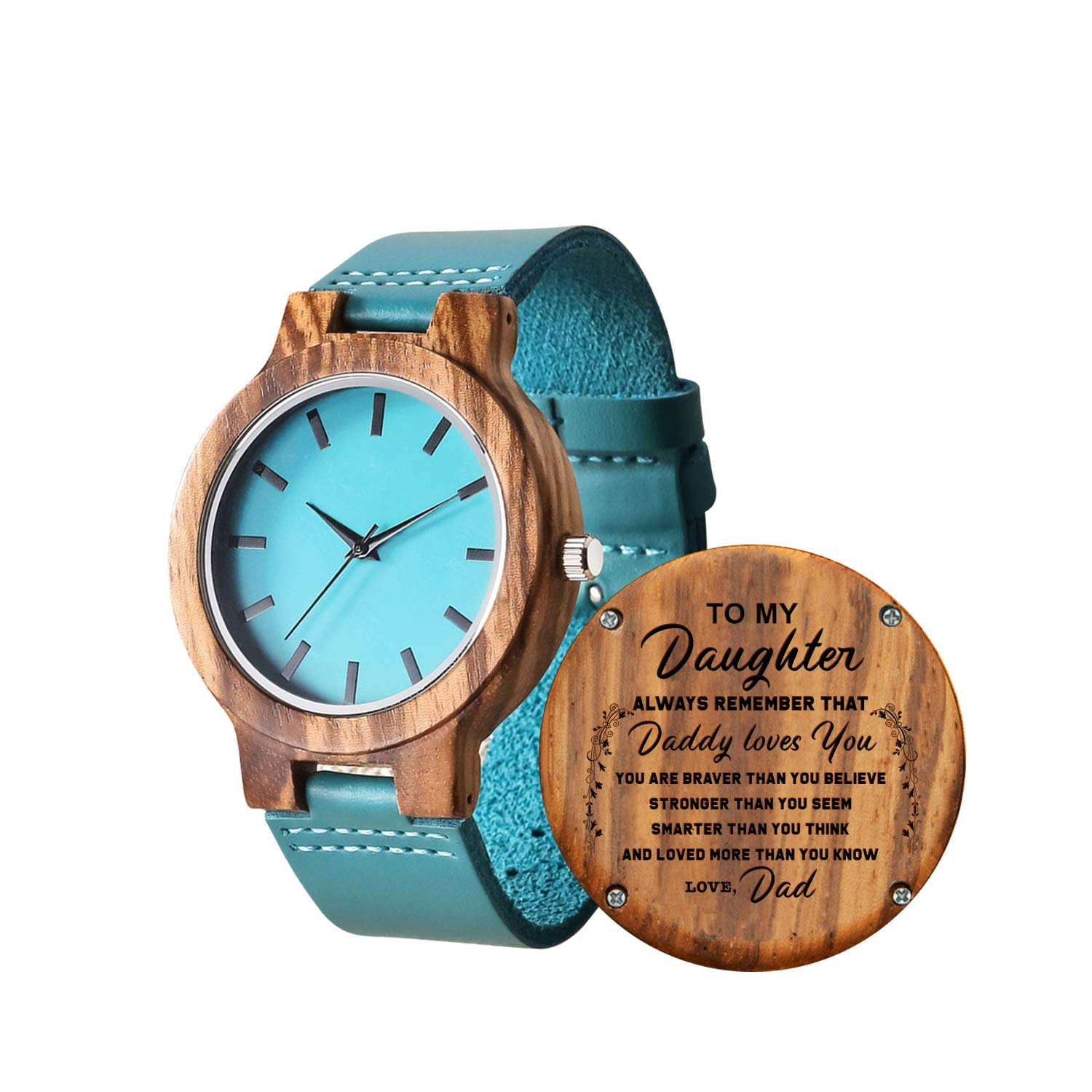 Personalized Wooden Watch for Daughter, Engraved ''to My Daughter'' Wood Watch, Anniversary Christmas Gifts for Daughter, Valentine's Gifts for Wife (Dad to Daughter) by KWOOD