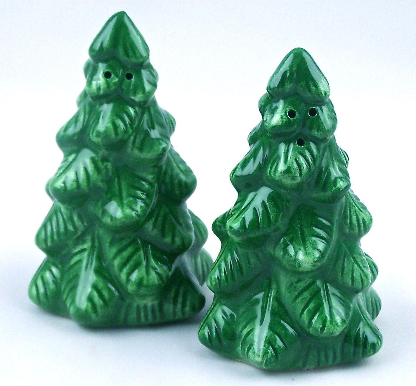 Fine Porcelain China Christmas Tree Salt & Pepper Shakers