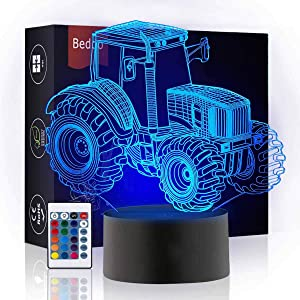 Bedoo LED Tractor Night 3D Illusion Bedside Table Lamp Sleeping Lighting with Smart Touch Button Cute Gift Warming Present Creative Decoration Ideal Art and Crafts, 16 Colours Changing