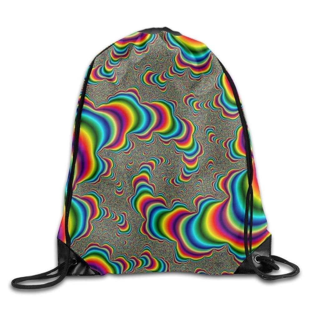Liumiang Sacs à Dos,Sacs de Sport,Sacs à Cordon, Eco-Friendly Pirnt Unisex Gym Bag Exotic Drawstring Bags Gym Bag Travel Backpack, Trippy Moving Illusions, Cute Gym Backpack for Boys Girls