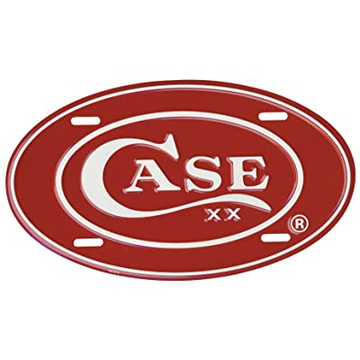 CaseXX XX Red Oval Embossed Aluminum License Plate