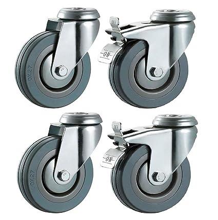 100 mm no marca ruedas (con freno de goma gris) – agujero de perno