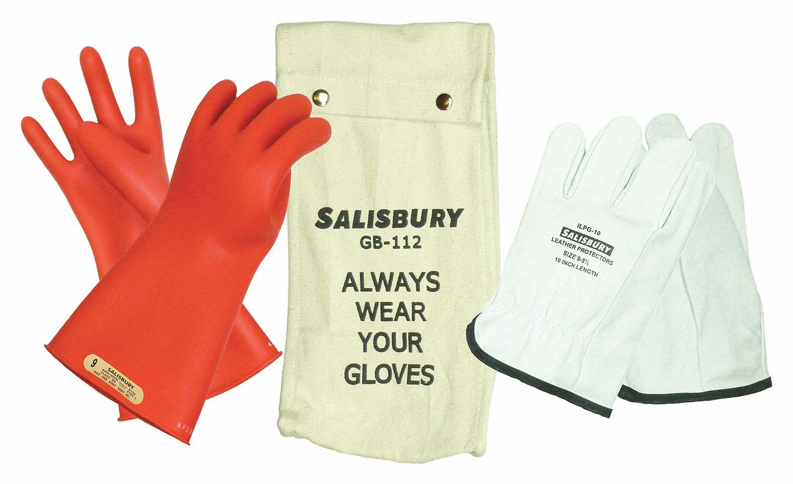 Salisbury Red Electrical Glove Kit, Natural Rubber, 00 Class, Size 8 8 Red Natural Rubber GK0011R/8 - 1 Each