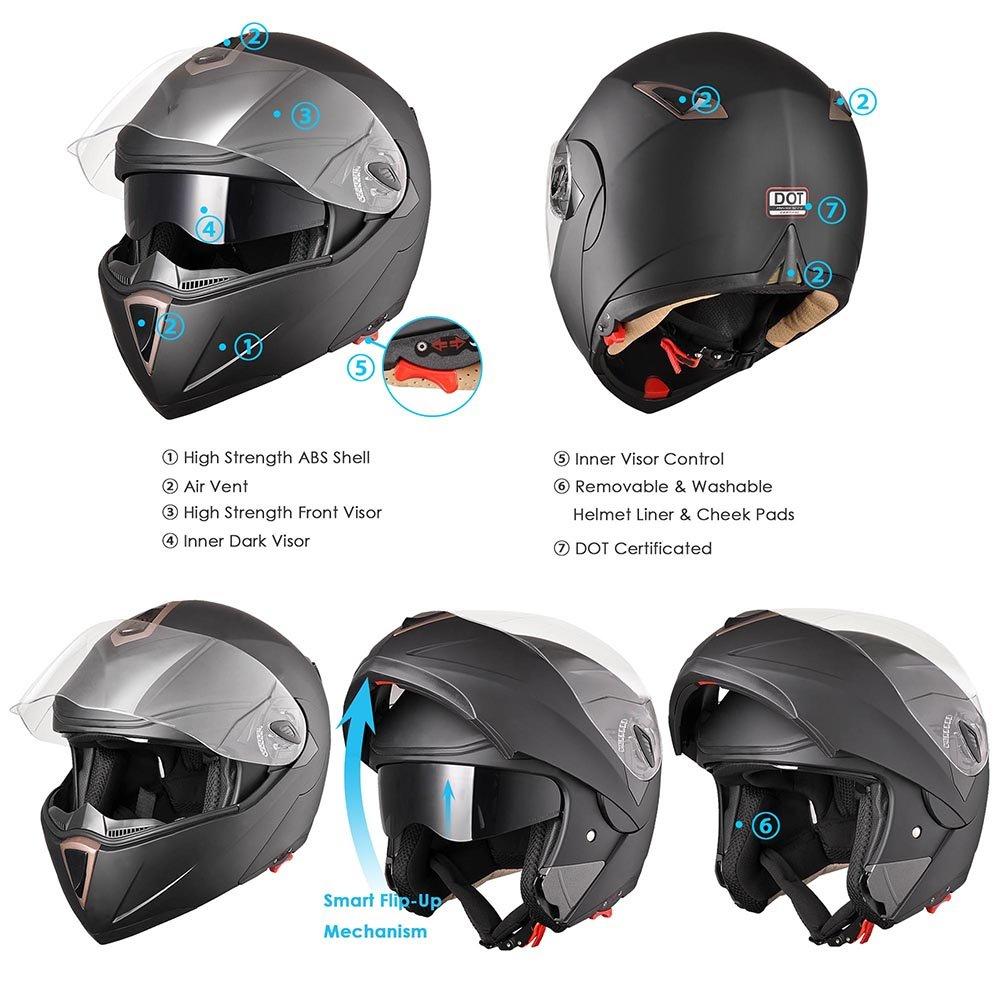 AHR Full Face Flip up Modular Motorcycle Helmet DOT Approved Dual Visor Motocross Black XL
