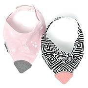Bazzle Baby Banda Teething Bib - Bandana Bib for Babies - Sore Gum Relief and Drool Bib - Diamonds and Stars, 2 Pack