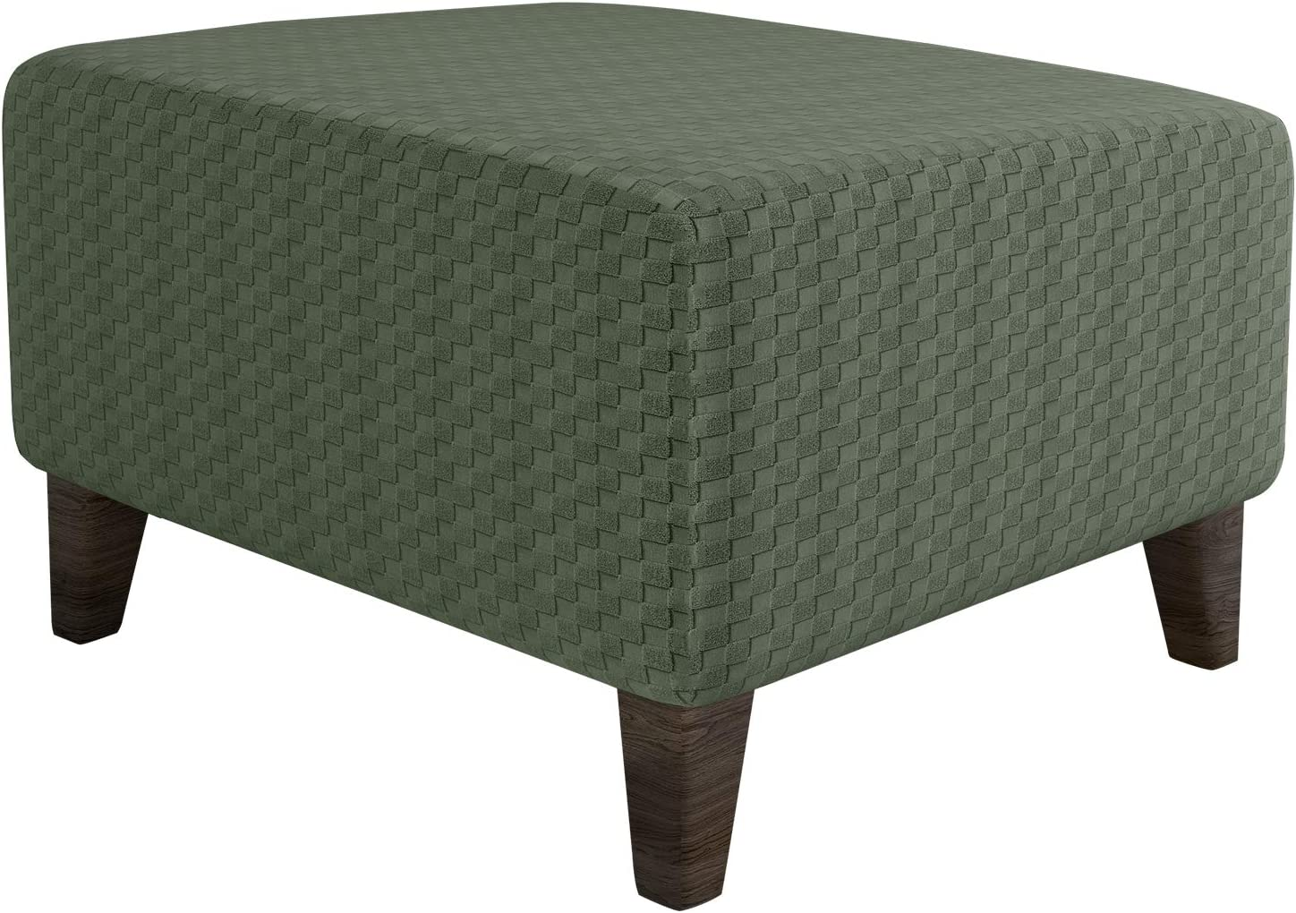 MAXIJIN Newest Jacquard Ottoman Slipcovers Folding Storage Stool Furniture Protector Cover Soft Thick Rectangle Foot Rest Slipcover with Elastic Bottom (Ottoman Small, Army Green)