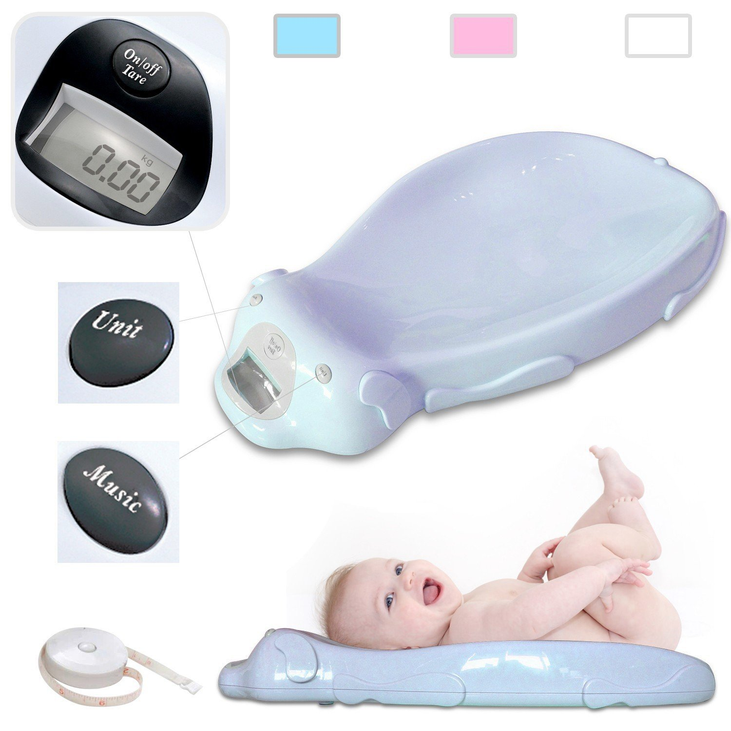 Todeco - Baby Scale, Electric Baby Scale - Size: 65.4 x 33.2 x 11.6 cm - Maximum load: 44 lbs - White FR1HEA600031-W