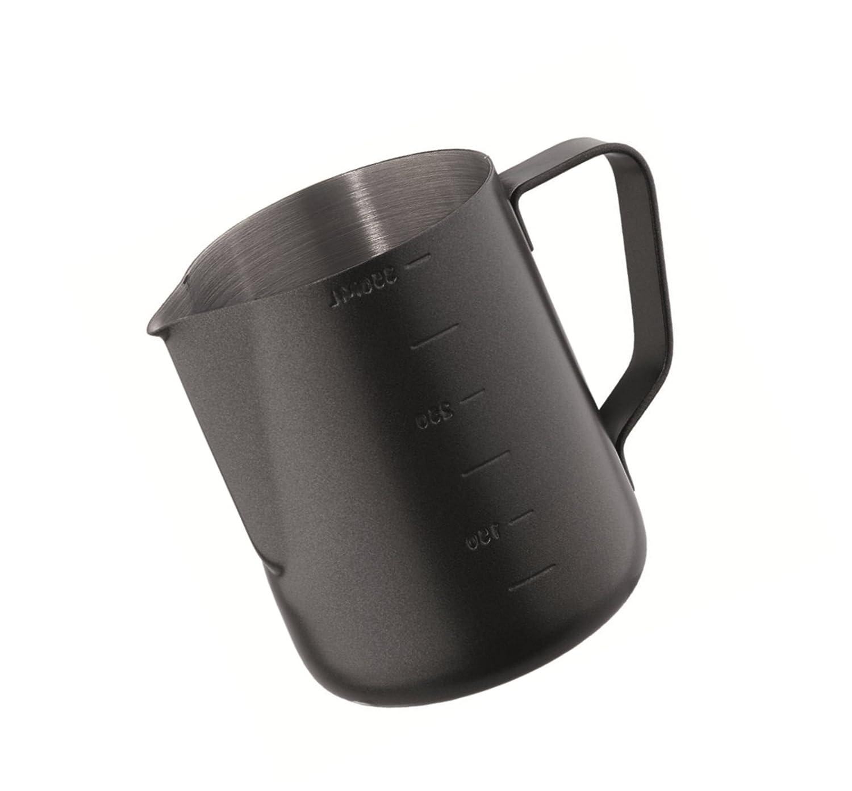 Kerafactum/®/ /Milk Pitcher 12/onzas /Black Barista lechera Leche Lanzador Kleine Jarra espumador de Leche para para espumar Leche Jarra de Acero Inoxidable 0,35/litros/