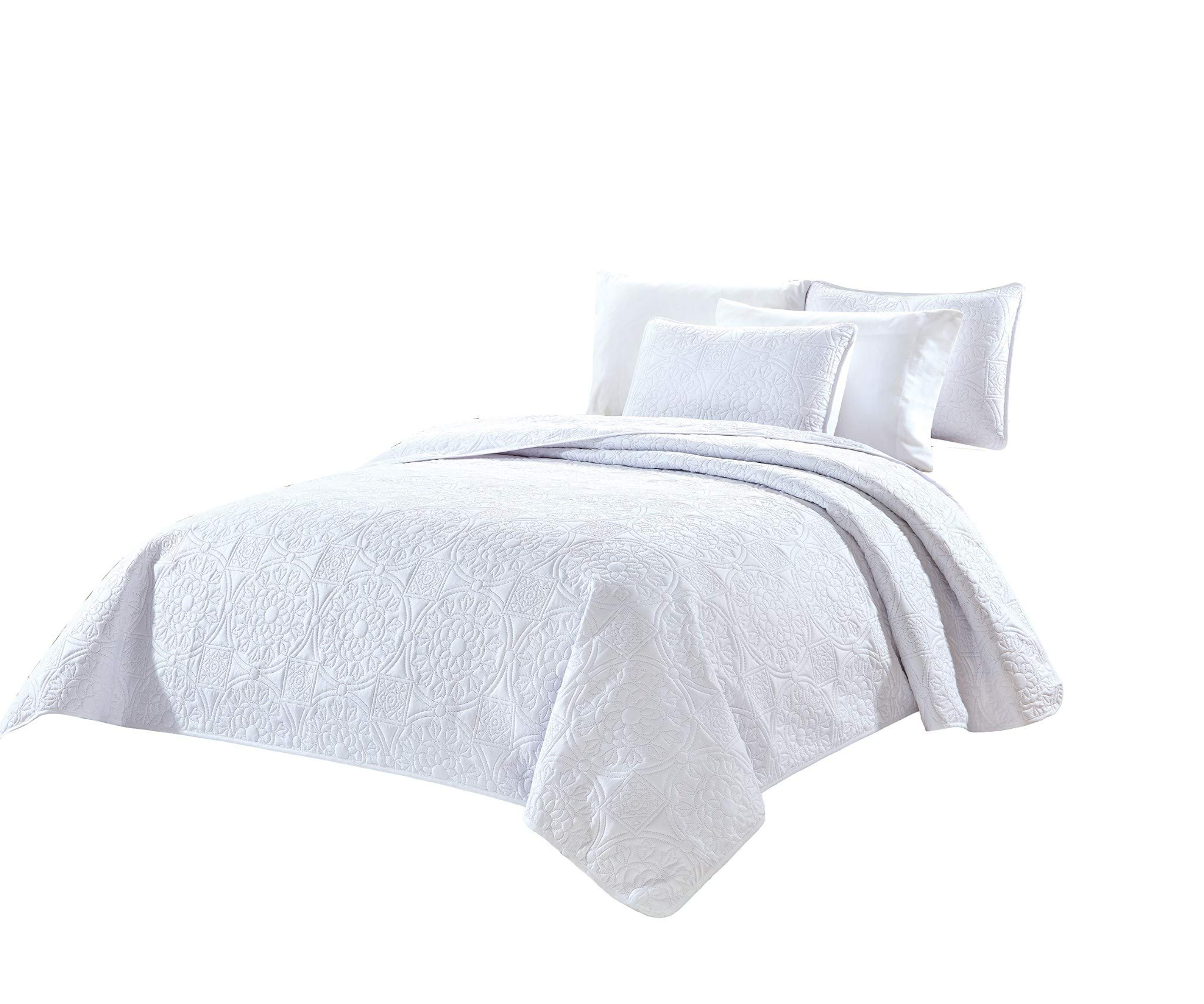 Chezmoi Collection Norfolk 3-Piece Oversized Floral Medallion Embossed Bedspread Set (Queen, White)