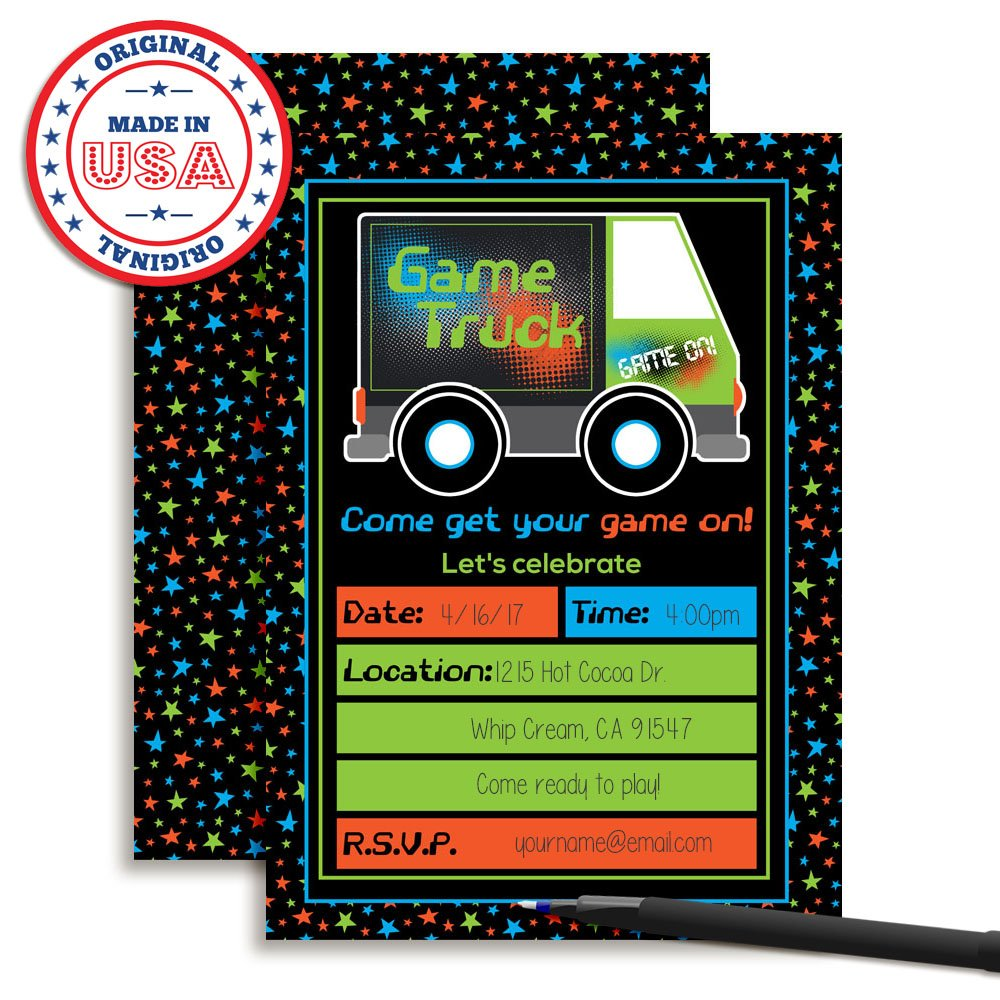 Amazon Com Game Truck Video Gamer Birthday Party Fill In