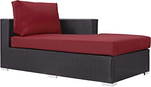 Modway Convene Wicker Rattan Outdoor Patio Right Arm Chaise in Espresso Red