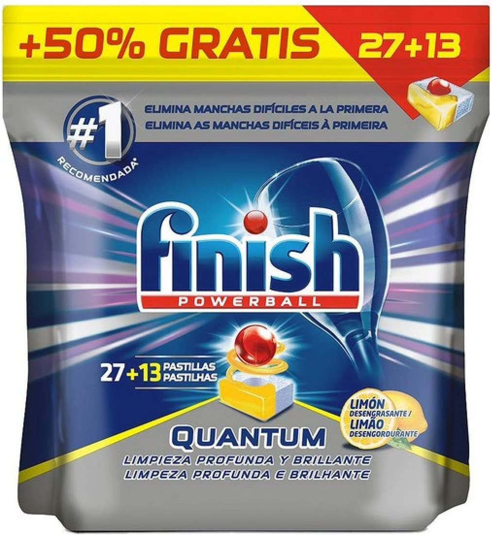 Finish Pastillas para Lavavajillas Quantum Lemon 27+13 Dosis ...