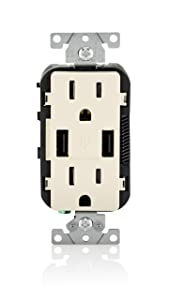 Leviton T5632-T 15-Amp USB Charger/Tamper Resistant Duplex Receptacle, Light Almond