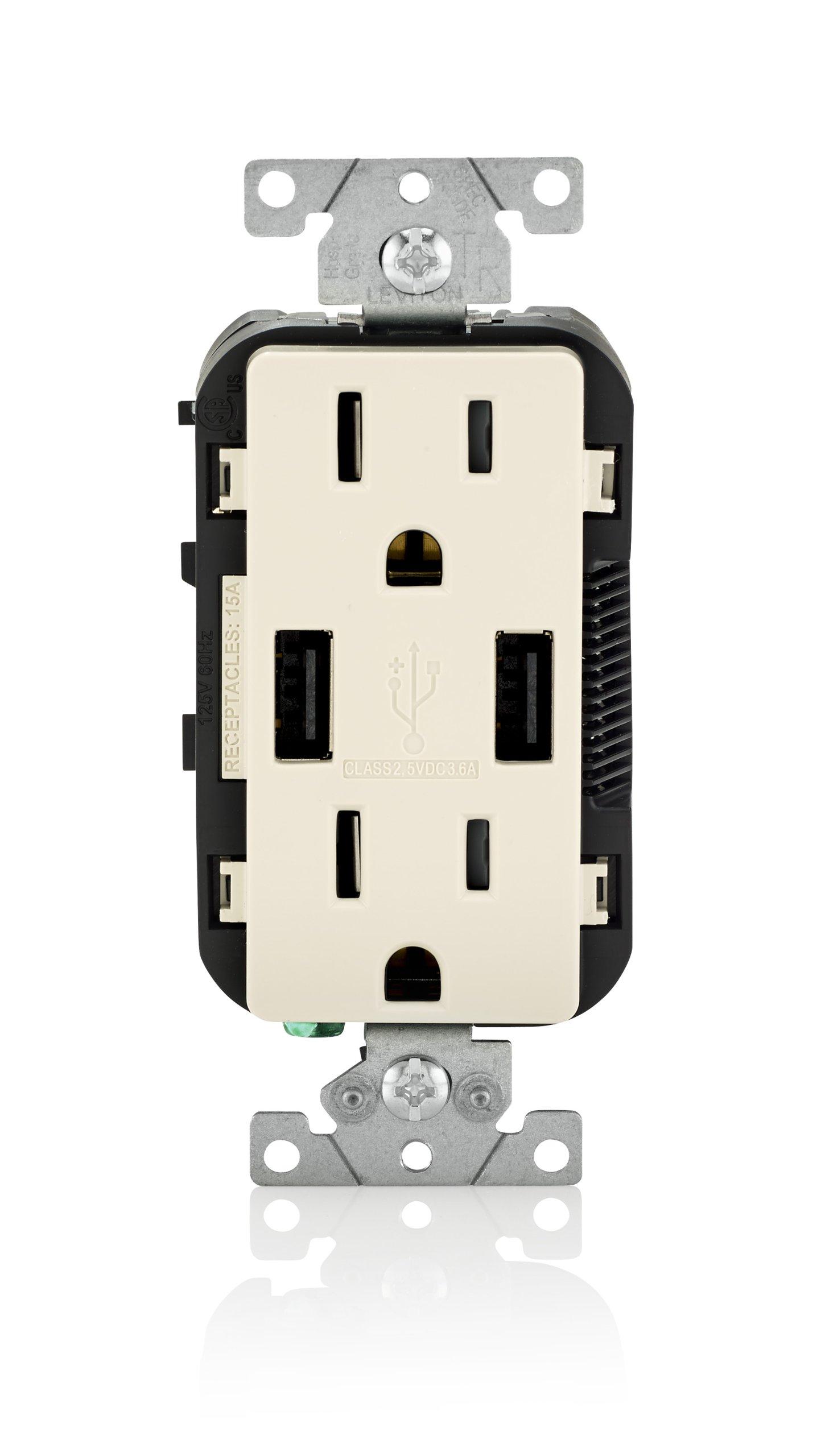 Leviton T5632-T USB Charger/Tamper-Resistant Duplex Receptacle, 15-Amp, 8-Pack, Light Almond