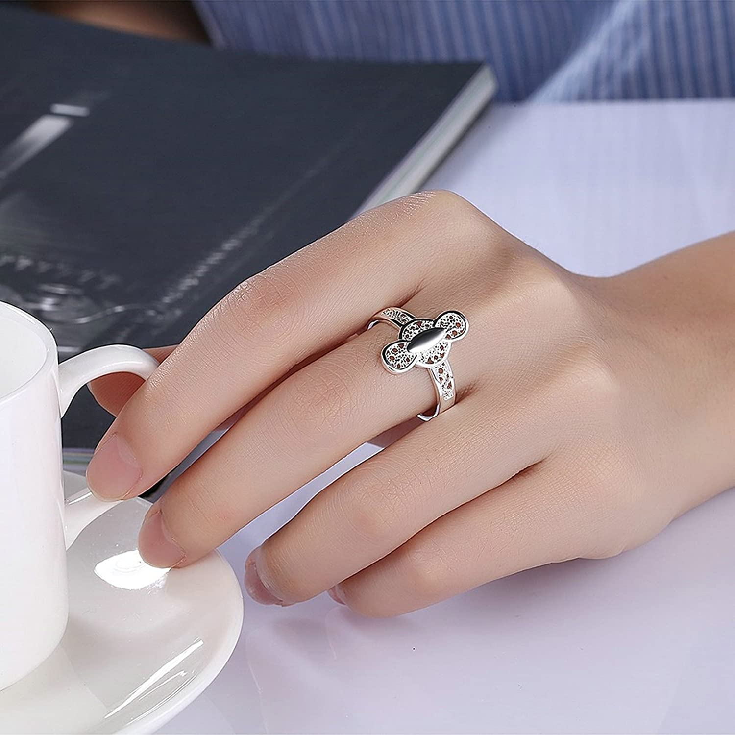 Amazon.com: Adisaer Women Rings Silver Plated Hallow Wedding Ring ...