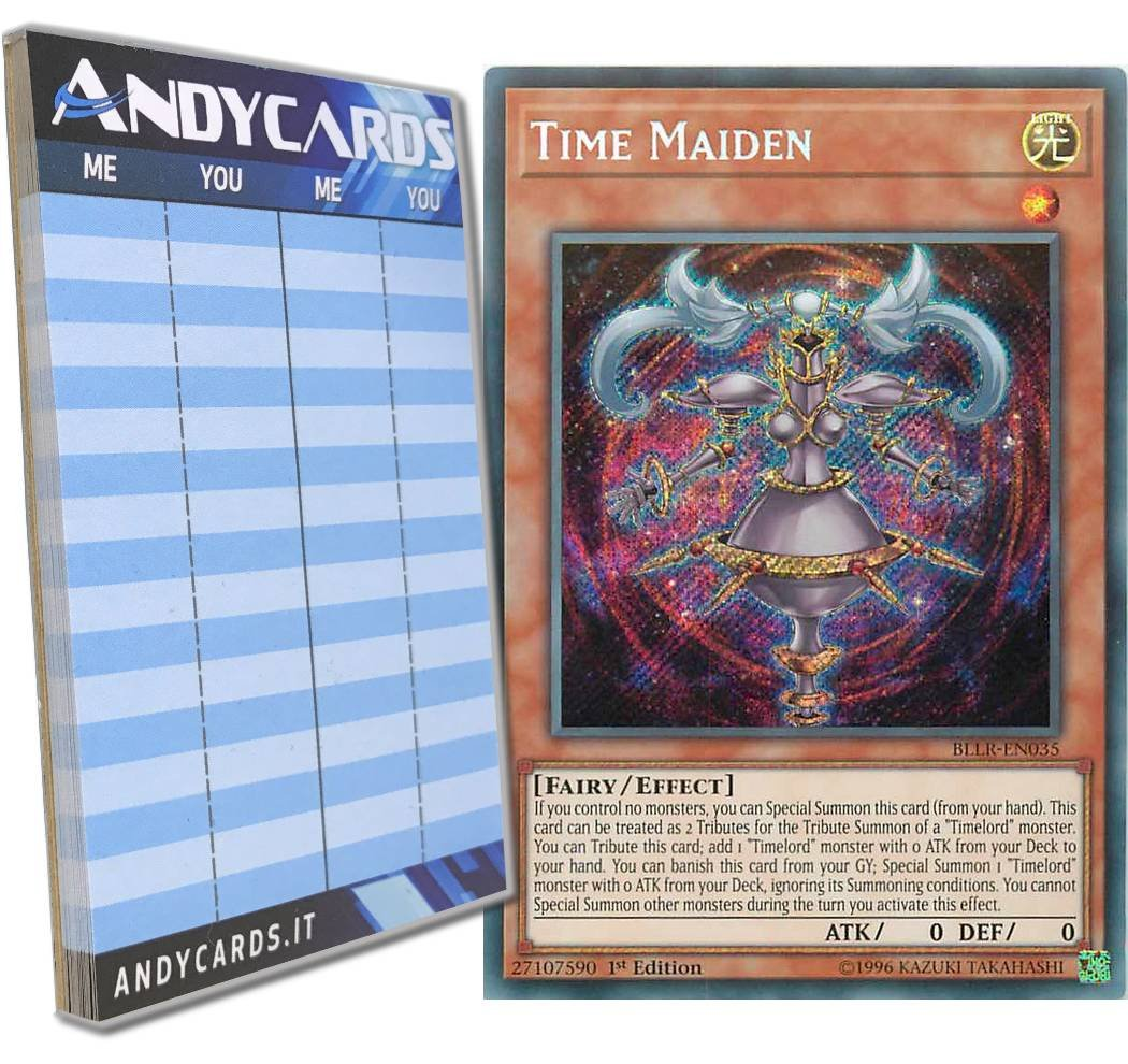 Yu-Gi-Oh! - TIME MAIDEN - Secret BLLR-EN035 in ENGLISH + Andycards Scorepad