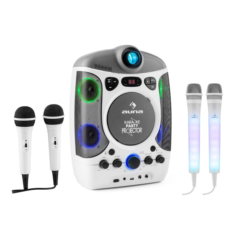 auna Kara Projectura y juego de micrófonos Dazzl • Equipo de Karaoke • Juego de Karaoke • Proyector LCD • Efectos luminosos LED RGB • Puerto USB con MP3 • Efecto eco • Micrófono • Función AVC &bu