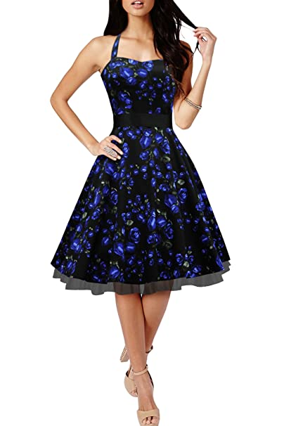 BlackButterfly Rhya Vestido Vintage De Los Años 50 Harmony (Rosas Azules, ES
