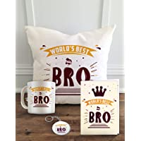 """Aldivo Gift For Sister And Brother 12"""" X 12"""" Cushion Cover With Filler ,Printed Coffee Mug ,Greeting Card & Printed Key Ring - Combo"""
