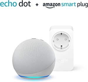 Nuovo Echo Dot (4ª generazione) - Bianco ghiaccio + Amazon Smart Plug (presa intelligente con connettività Wi-Fi), compatibile con Alexa