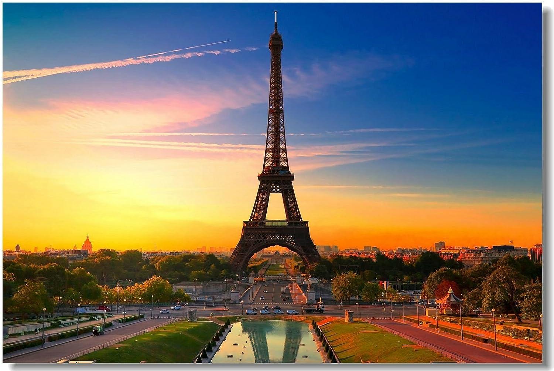 Amazon Com 1x Poster Eiffel Tower Landscape Paris City Girl Gift Love For Room Office Hall Art Print Decoration 35 5x23 5 90x60cm 014 Posters Prints