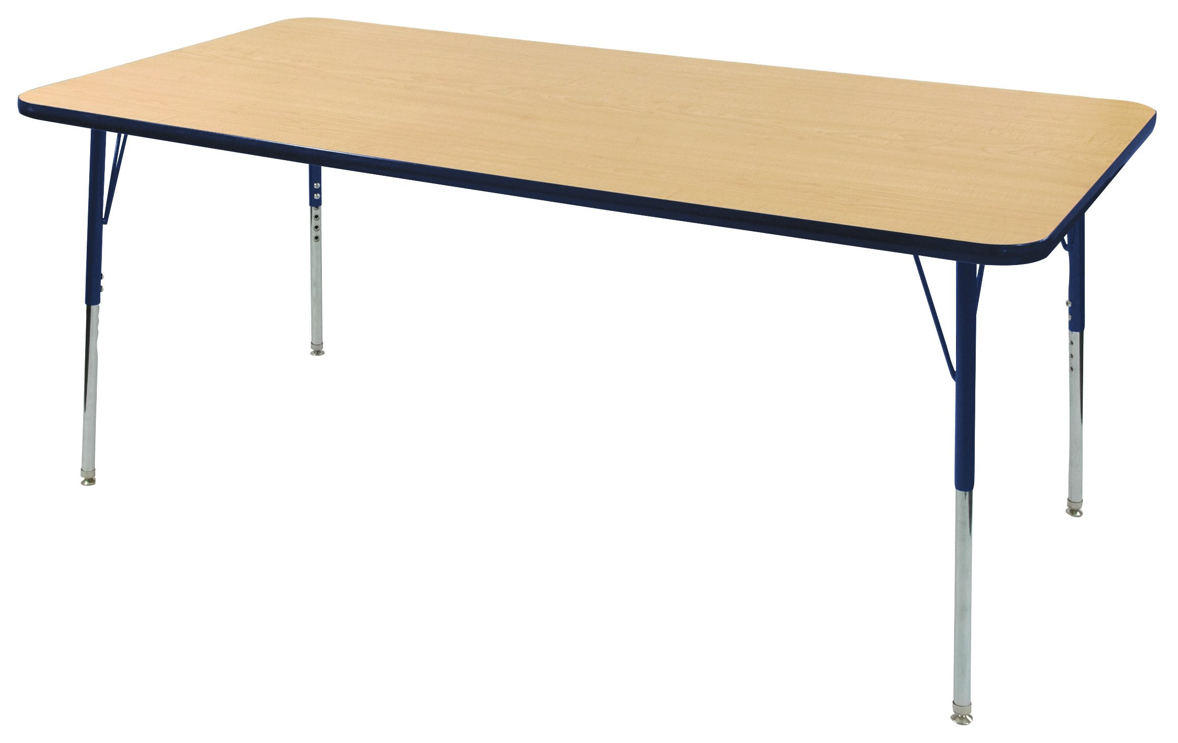 ECR4Kids T-Mold 36'' x 72'' Rectangular Activity School Table, Toddler Legs w/ Swivel Glides, Adjustable Height 15-23 inch (Maple/Navy) by ECR4Kids