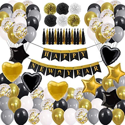 2020 Graduation Party Supplies.New Years Eve Party Supplies 2020 Decorations Kit Gold White And Black Balloons Sets Lunar New Year S Graduation Party Supplies 2020 Decor