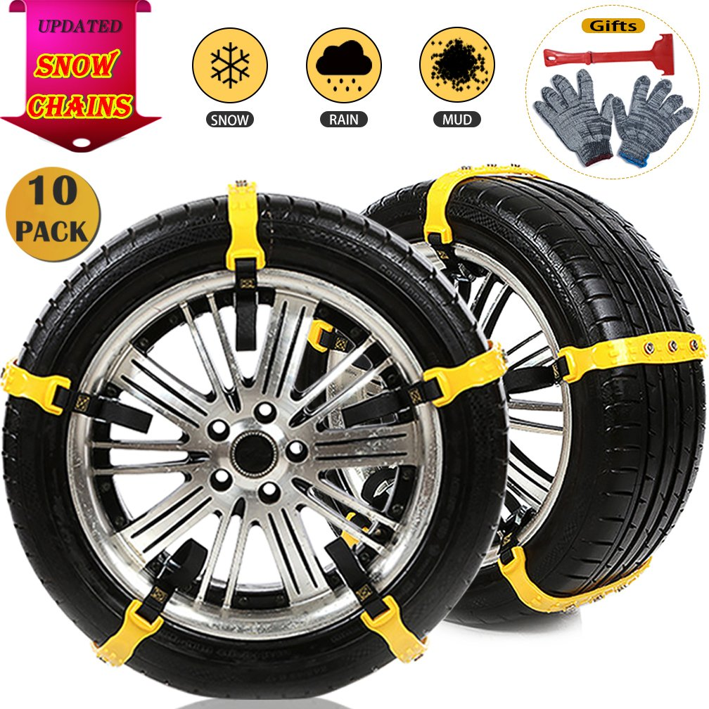 BiBOSS Snow Chains 10 Pcs Anti Slip Tire Chains Adjustable Emergency Traction Security Car Tire Chains Fit for Most Car SUV