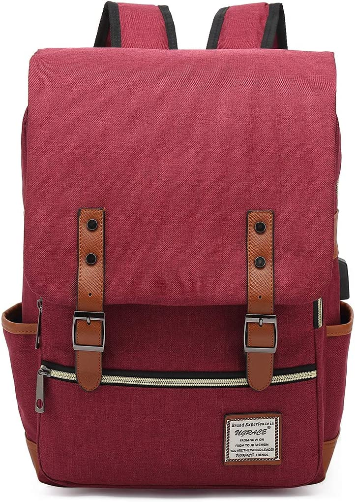 UGRACE Vintage Laptop Backpack with USB Charging Port, Elegant Water Resistant Travelling Backpack Casual Daypacks School Shoulder Bag for Men Women, Fits up to 15.6Inch Macbook in Red