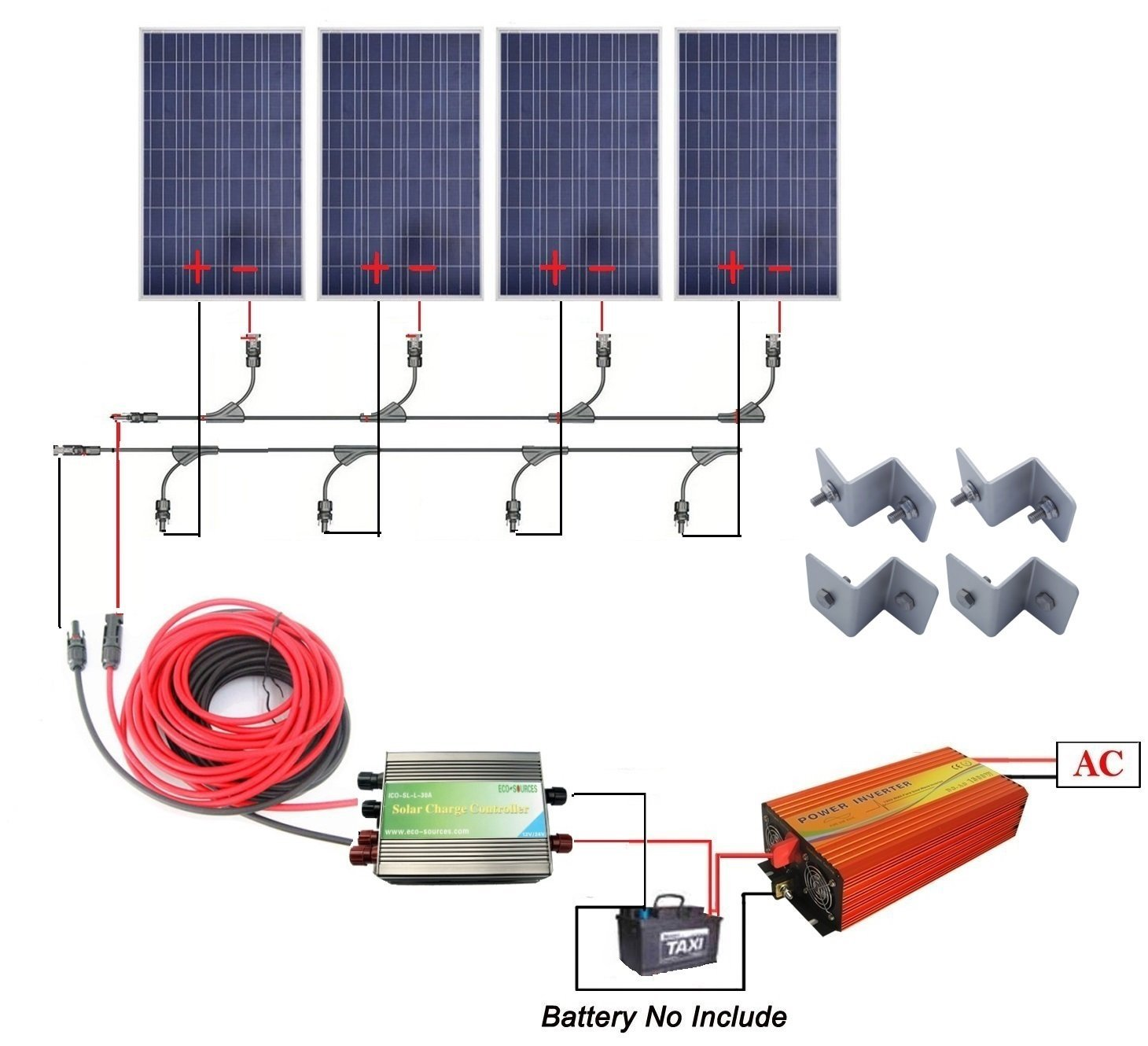 400 Watts Off Grid Solar Power System 4pcs 100w Sine Wavedc Sign Wavesine Wave Diagrampwm Inverterpure Polycrystalline Panel 1000w Pure Inverter 30a Pwm Charge Controller