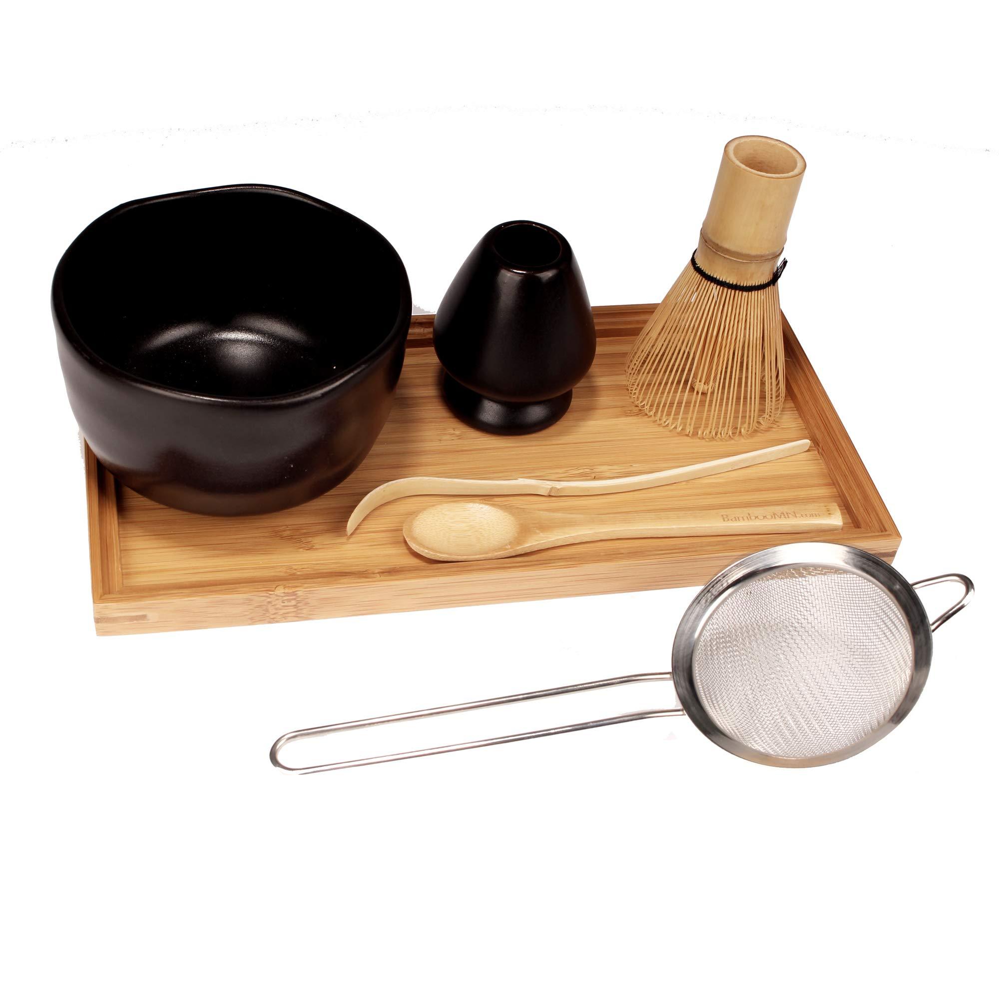 Japanese Ceremonial Matcha Green Tea Whisk Set - Golden Chasen Whisk, Chashaku, Tea Spoon, Black Bowl, Black Rest, Strainer, Tea Tray by BambooMN