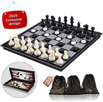 Juego de ajedrez, 3 en 1 Juego de mesa de ajedrez magnético, 31.5CM x 31.5CM Juego de mesa de ajedrez plegable con ajedrez Damas de backgammon, Juego de ajedrez: Amazon.es: Juguetes y