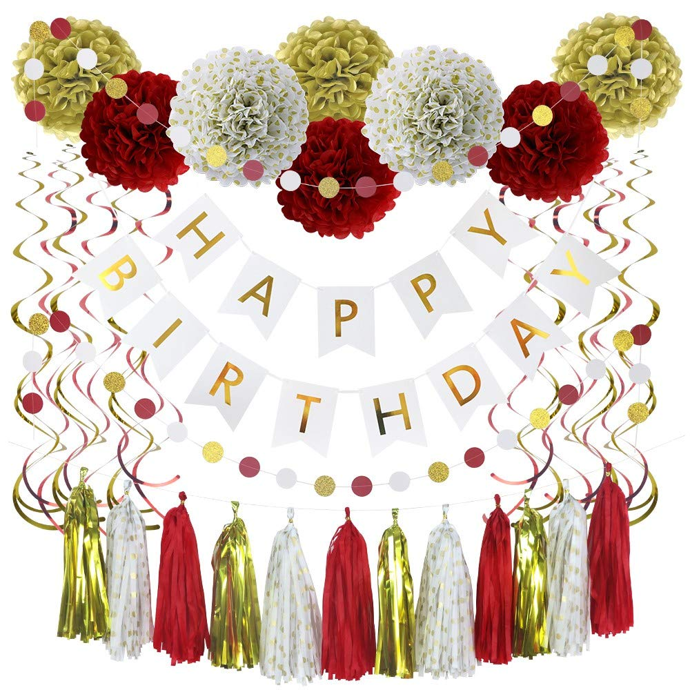 35 Piece Happy Birthday Banner, Party Decorations in Red, White, Gold & Glitter Gold Dots