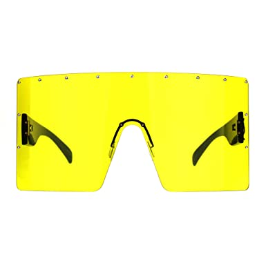 d2fed0392a0 Studded Visor Shield Sunglasses Sun Cover Shades for Face Rectangle UV 400  Black Size  One Size  Amazon.co.uk  Clothing